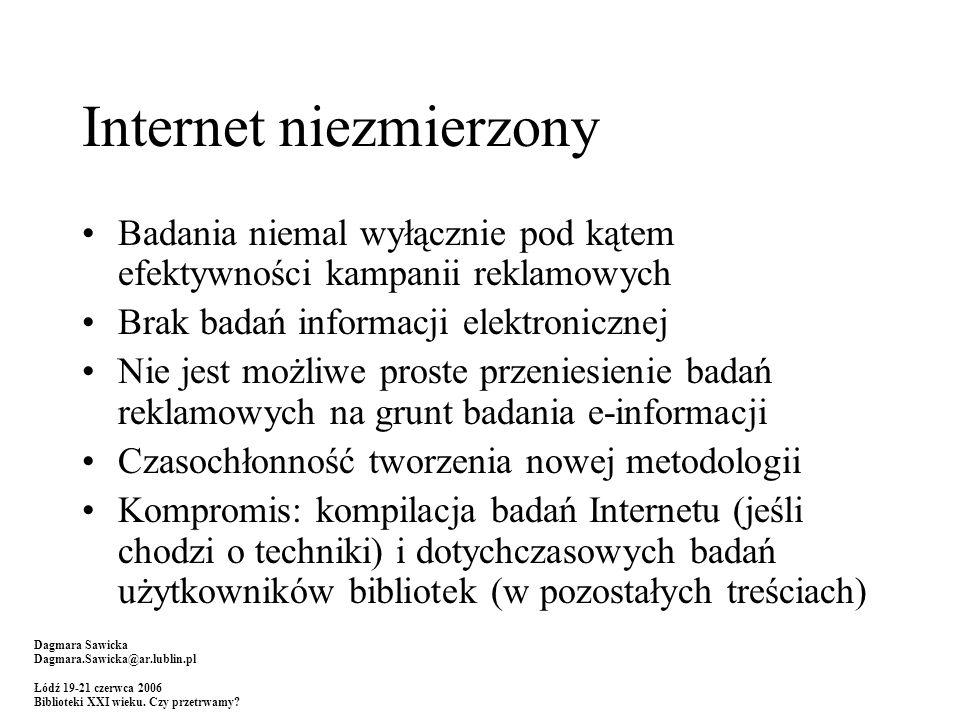 Internet niezmierzony Badania niemal wyłącznie pod kątem efektywności kampanii reklamowych Brak badań informacji elektronicznej Nie jest możliwe prost