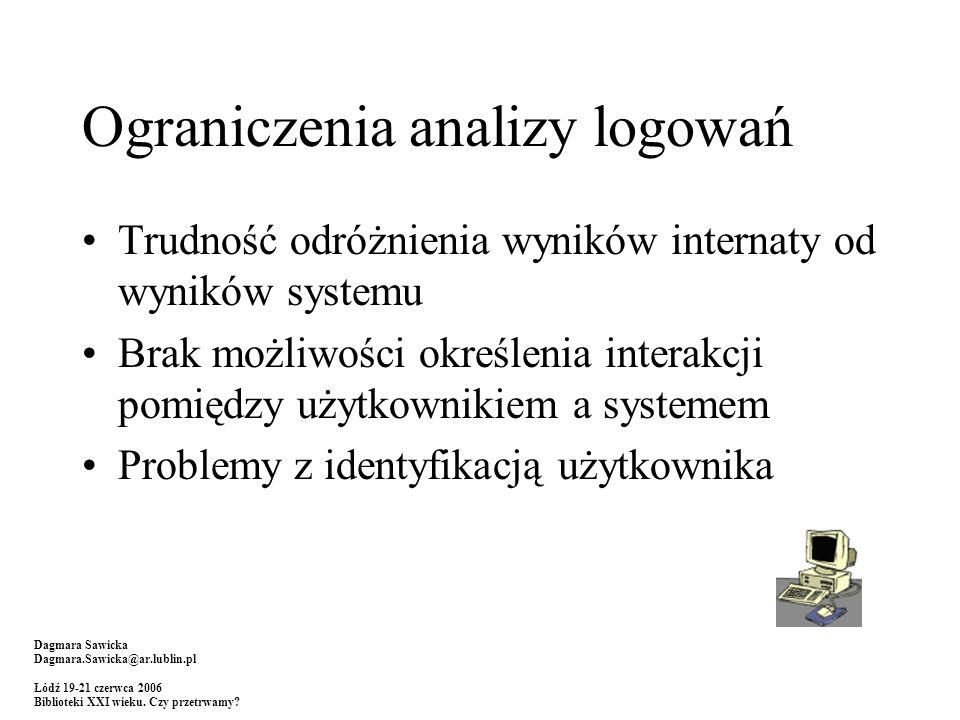 Ograniczenia analizy logowań Trudność odróżnienia wyników internaty od wyników systemu Brak możliwości określenia interakcji pomiędzy użytkownikiem a