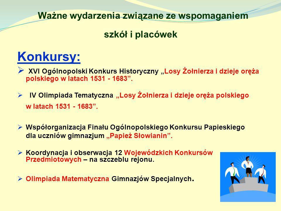 Ważne wydarzenia związane ze wspomaganiem szkół i placówek Konkursy: XVI Ogólnopolski Konkurs Historyczny Losy Żołnierza i dzieje oręża polskiego w la