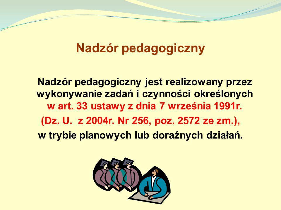 Nadzór pedagogiczny Nadzór pedagogiczny jest realizowany przez wykonywanie zadań i czynności określonych w art. 33 ustawy z dnia 7 września 1991r. (Dz