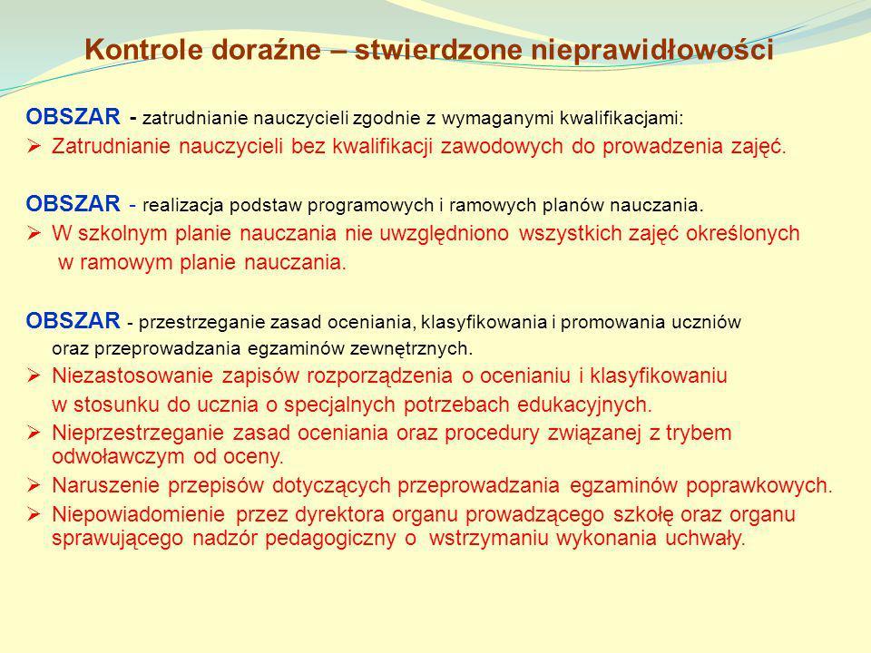 Kontrole doraźne – stwierdzone nieprawidłowości OBSZAR - zatrudnianie nauczycieli zgodnie z wymaganymi kwalifikacjami: Zatrudnianie nauczycieli bez kw