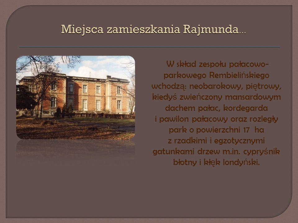 W skład zespołu pałacowo- parkowego Rembieli ń skiego wchodz ą : neobarokowy, pi ę trowy, kiedy ś zwie ń czony mansardowym dachem pałac, kordegarda i