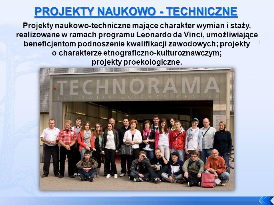 Projekty naukowo-techniczne mające charakter wymian i staży, realizowane w ramach programu Leonardo da Vinci, umożliwiające beneficjentom podnoszenie kwalifikacji zawodowych; projekty o charakterze etnograficzno-kulturoznawczym; projekty proekologiczne.