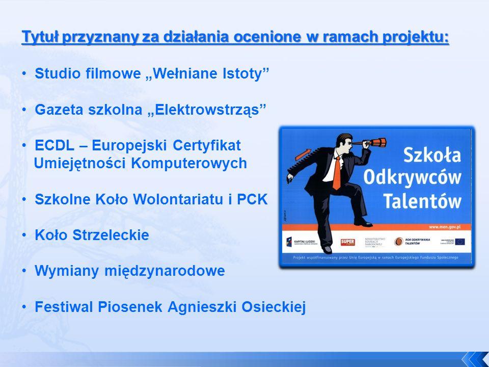 Tytuł przyznany za działania ocenione w ramach projektu: Studio filmowe Wełniane Istoty Gazeta szkolna Elektrowstrząs ECDL – Europejski Certyfikat Umi