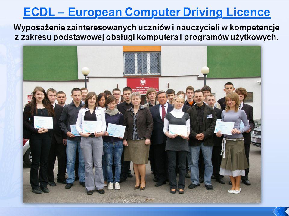 ECDL w naszej szkole Ponad 300 uczniów przystąpiło do egzaminu i uzyskało w 100% certyfikat European Computer Driving Licence, uznawany w krajach Unii Europejskiej.