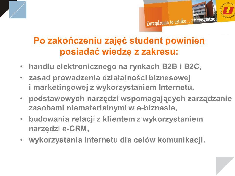 Po zakończeniu zajęć student powinien posiadać wiedzę z zakresu: handlu elektronicznego na rynkach B2B i B2C, zasad prowadzenia działalności biznesowe