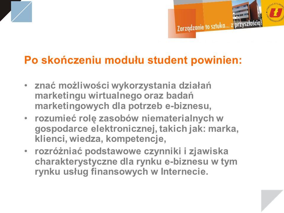 Po skończeniu modułu student powinien: znać możliwości wykorzystania działań marketingu wirtualnego oraz badań marketingowych dla potrzeb e-biznesu, r