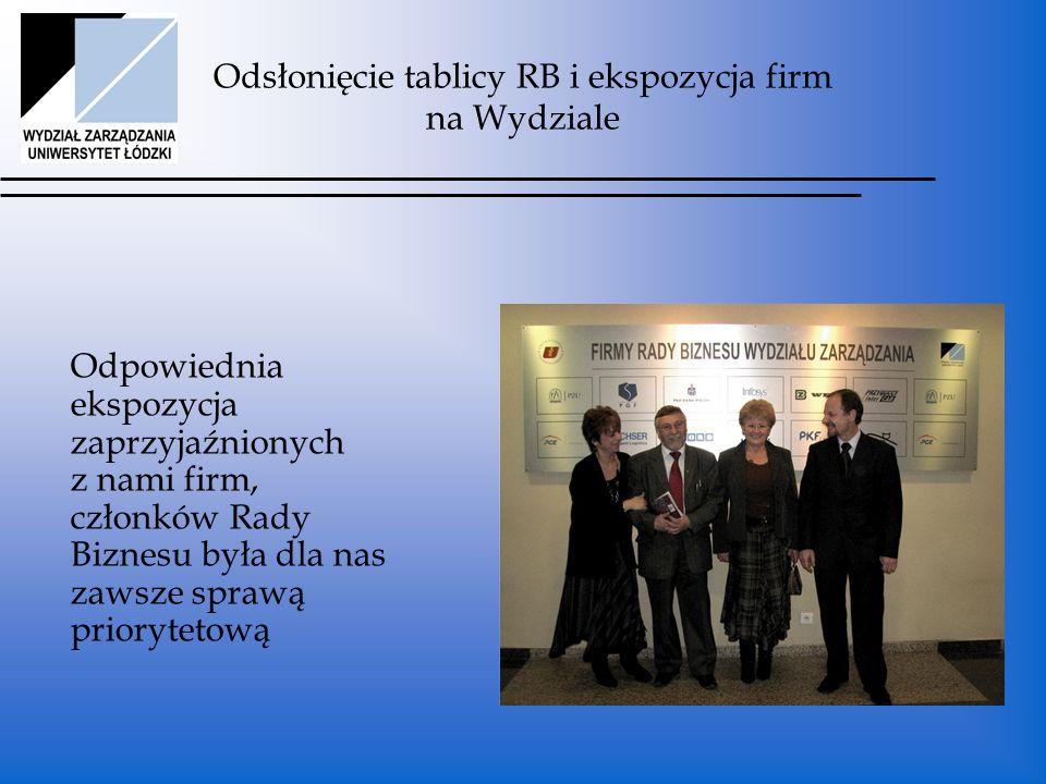 Odsłonięcie tablicy RB i ekspozycja firm na Wydziale Odpowiednia ekspozycja zaprzyjaźnionych z nami firm, członków Rady Biznesu była dla nas zawsze sprawą priorytetową