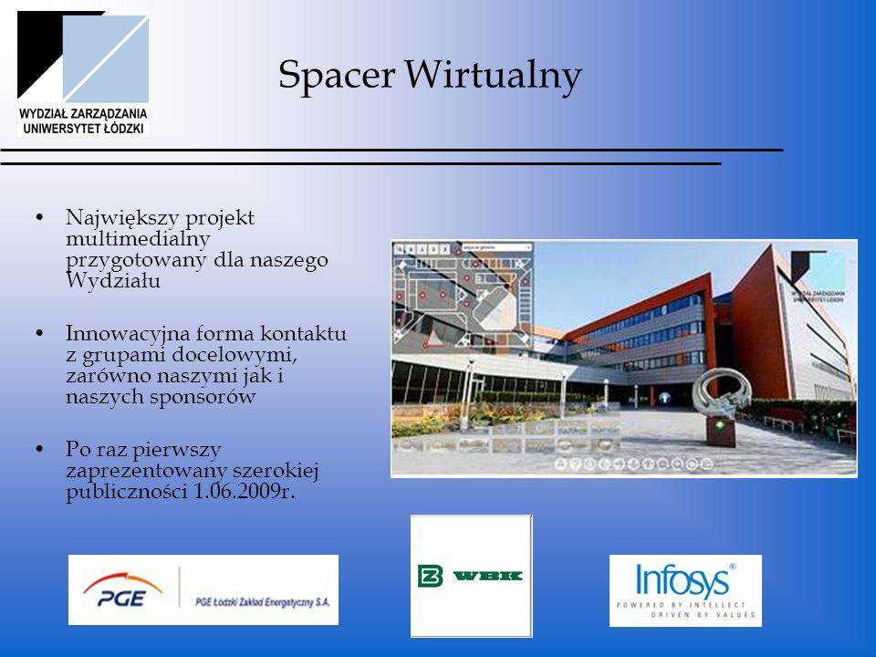 Spacer Wirtualny Największy projekt multimedialny przygotowany dla naszego Wydziału Innowacyjna forma kontaktu z grupami docelowymi, zarówno naszymi jak i naszych sponsorów Po raz pierwszy zaprezentowany szerokiej publiczności 1.06.2009r.