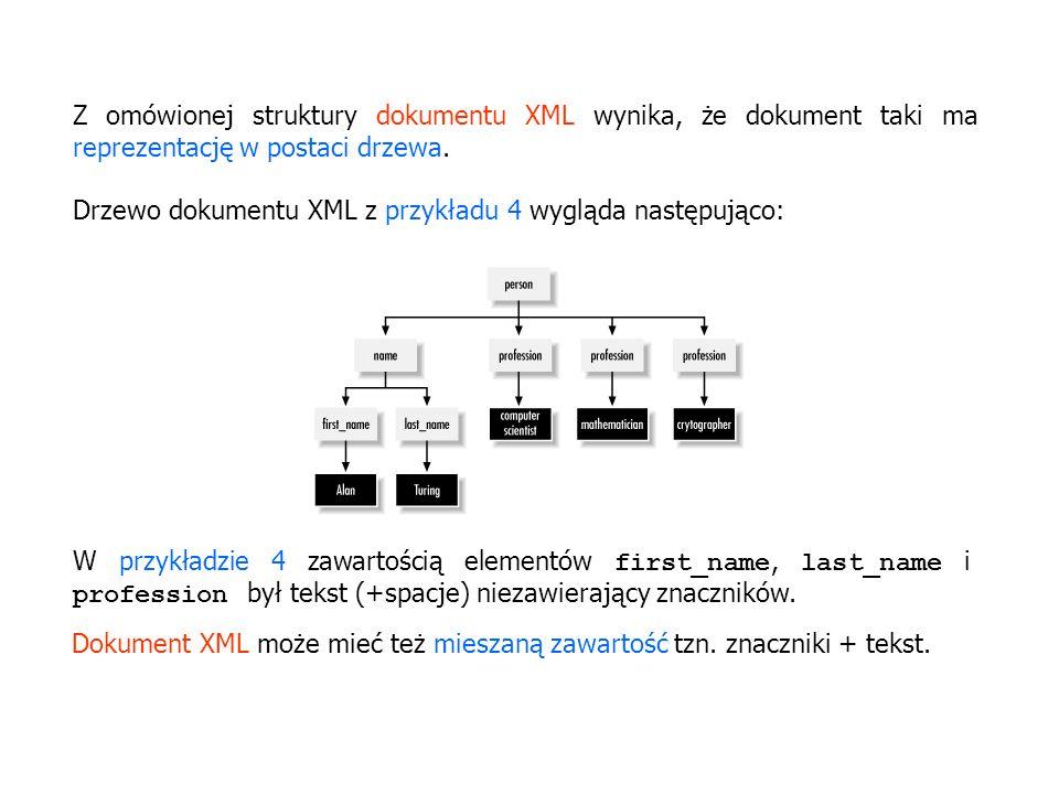 Drzewo dokumentu XML z przykładu 4 wygląda następująco: W przykładzie 4 zawartością elementów first_name, last_name i profession był tekst (+spacje) n