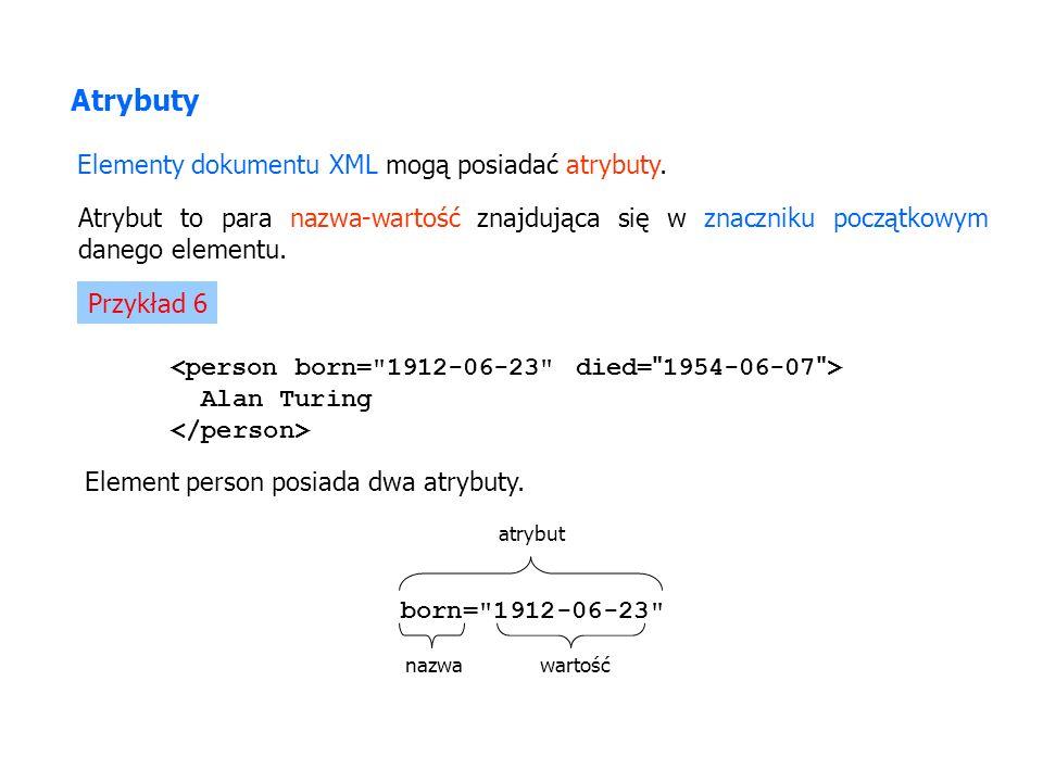 Elementy dokumentu XML mogą posiadać atrybuty. Atrybut to para nazwa-wartość znajdująca się w znaczniku początkowym danego elementu. Przykład 6 Alan T