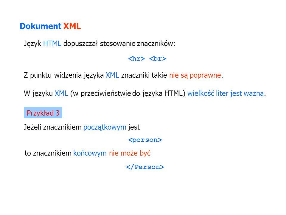 Język HTML dopuszczał stosowanie znaczników: Z punktu widzenia języka XML znaczniki takie nie są poprawne. W języku XML (w przeciwieństwie do języka H