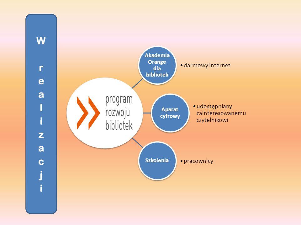 Akademia Orange dla bibliotek darmowy Internet Aparat cyfrowy udostępniany zainteresowanemu czytelnikowi Szkolenia pracownicy