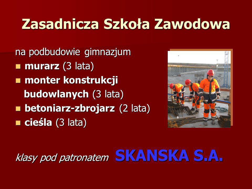 Zasadnicza Szkoła Zawodowa na podbudowie gimnazjum murarz (3 lata) murarz (3 lata) monter konstrukcji monter konstrukcji budowlanych (3 lata) budowlan
