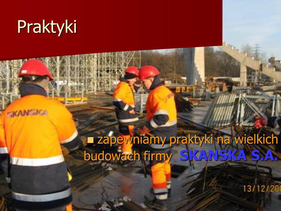 Praktyki zapewniamy praktyki na wielkich budowach firmy SKANSKA S.A. zapewniamy praktyki na wielkich budowach firmy SKANSKA S.A.