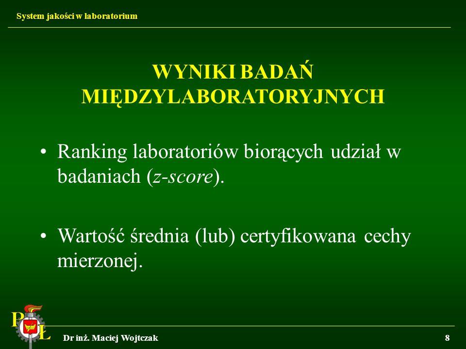 System jakości w laboratorium Dr inż. Maciej Wojtczak8 WYNIKI BADAŃ MIĘDZYLABORATORYJNYCH Ranking laboratoriów biorących udział w badaniach (z-score).