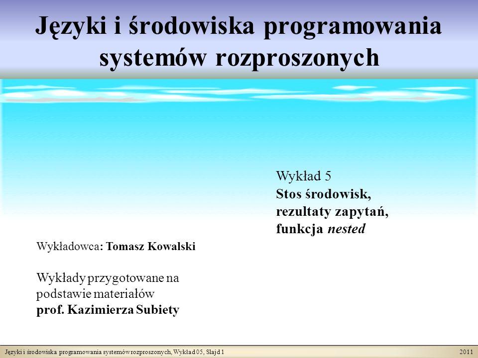 Języki i środowiska programowania systemów rozproszonych, Wykład 05, Slajd 1 2011 Języki i środowiska programowania systemów rozproszonych Wykładowca: