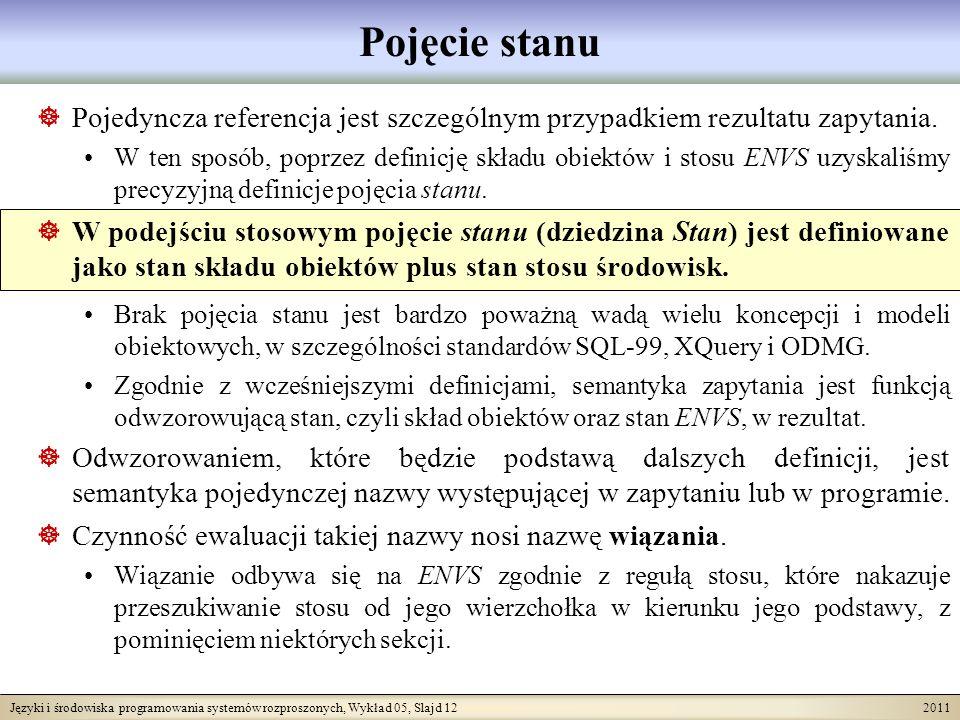 Języki i środowiska programowania systemów rozproszonych, Wykład 05, Slajd 12 2011 Pojęcie stanu Pojedyncza referencja jest szczególnym przypadkiem re