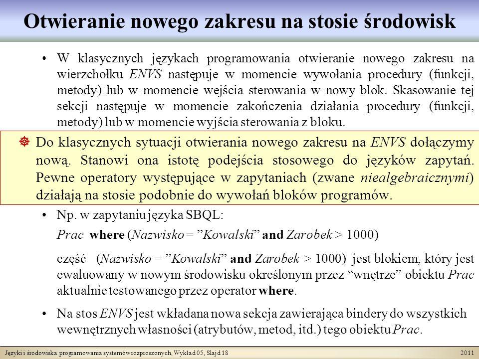 Języki i środowiska programowania systemów rozproszonych, Wykład 05, Slajd 18 2011 Otwieranie nowego zakresu na stosie środowisk W klasycznych językac