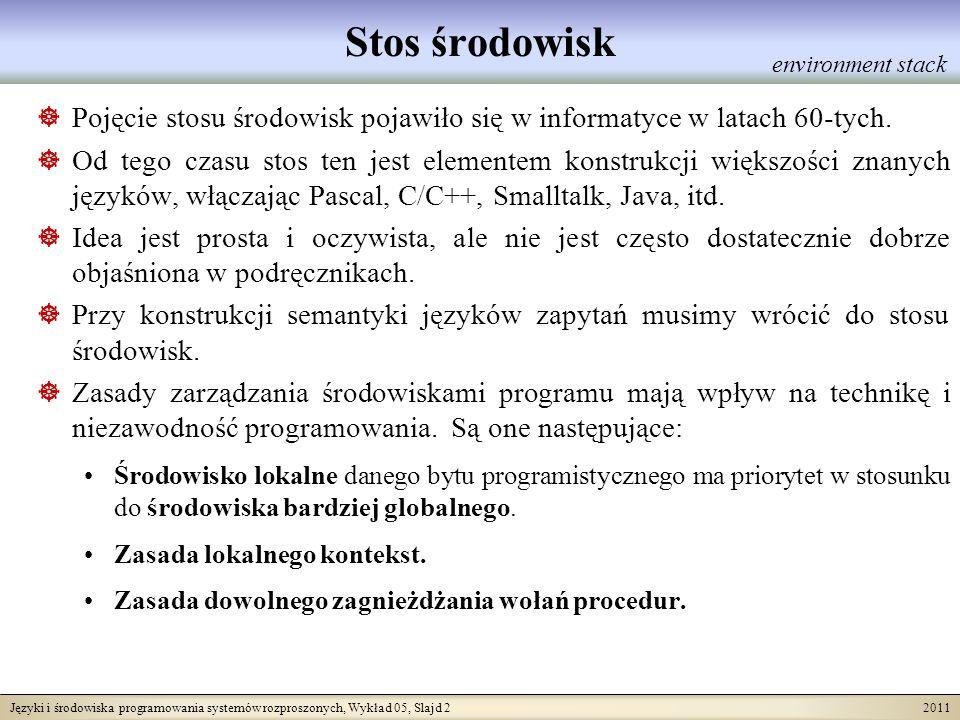 Języki i środowiska programowania systemów rozproszonych, Wykład 05, Slajd 2 2011 Stos środowisk Pojęcie stosu środowisk pojawiło się w informatyce w