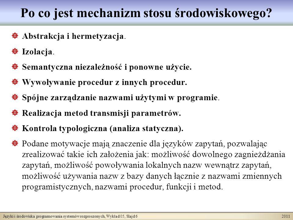 Języki i środowiska programowania systemów rozproszonych, Wykład 05, Slajd 6 2011 Po co jest mechanizm stosu środowiskowego? Abstrakcja i hermetyzacja