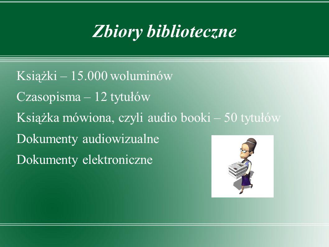 Zbiory biblioteczne Książki – 15.000 woluminów Czasopisma – 12 tytułów Książka mówiona, czyli audio booki – 50 tytułów Dokumenty audiowizualne Dokumenty elektroniczne