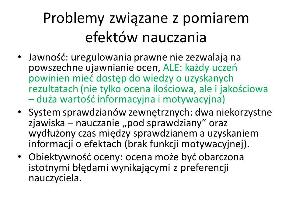 Problemy związane z pomiarem efektów nauczania Jawność: uregulowania prawne nie zezwalają na powszechne ujawnianie ocen, ALE: każdy uczeń powinien mie