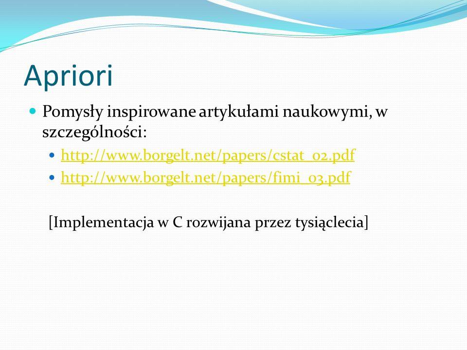 Apriori Pomysły inspirowane artykułami naukowymi, w szczególności: http://www.borgelt.net/papers/cstat_02.pdf http://www.borgelt.net/papers/fimi_03.pdf [Implementacja w C rozwijana przez tysiąclecia]