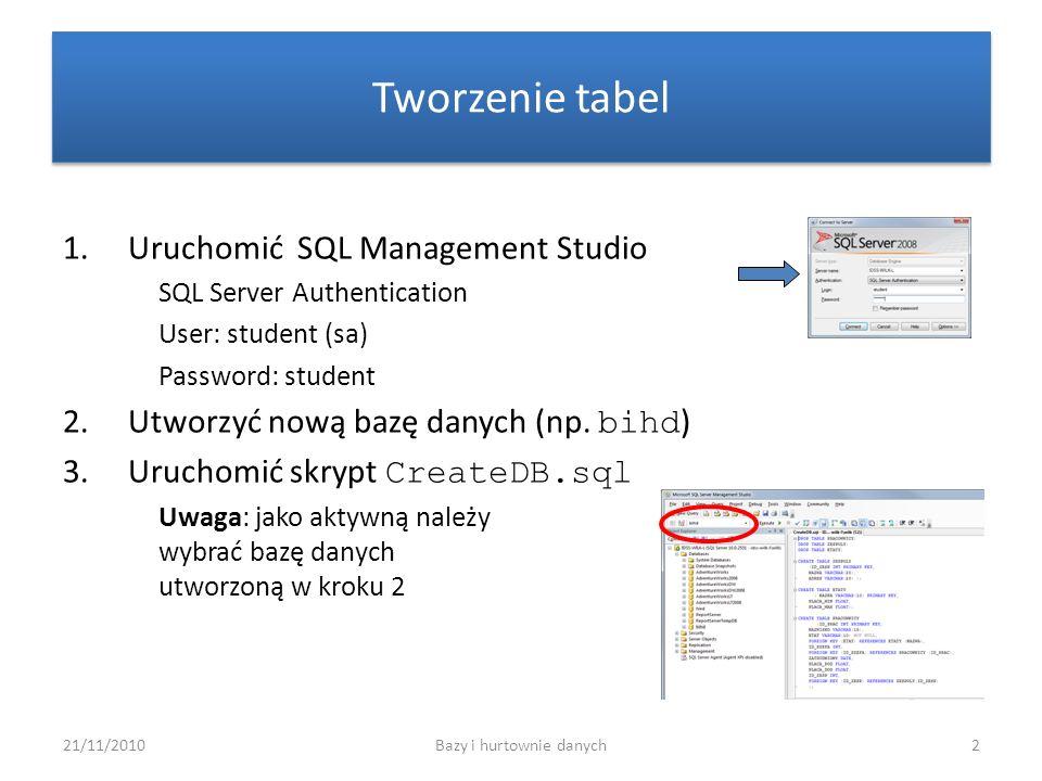 21/11/2010Bazy i hurtownie danych23 Zadanie 10 Wyświetl nazwy i numery zespołów (oraz łączną liczbę pracowników), które zatrudniają więcej niż 3 pracowników.