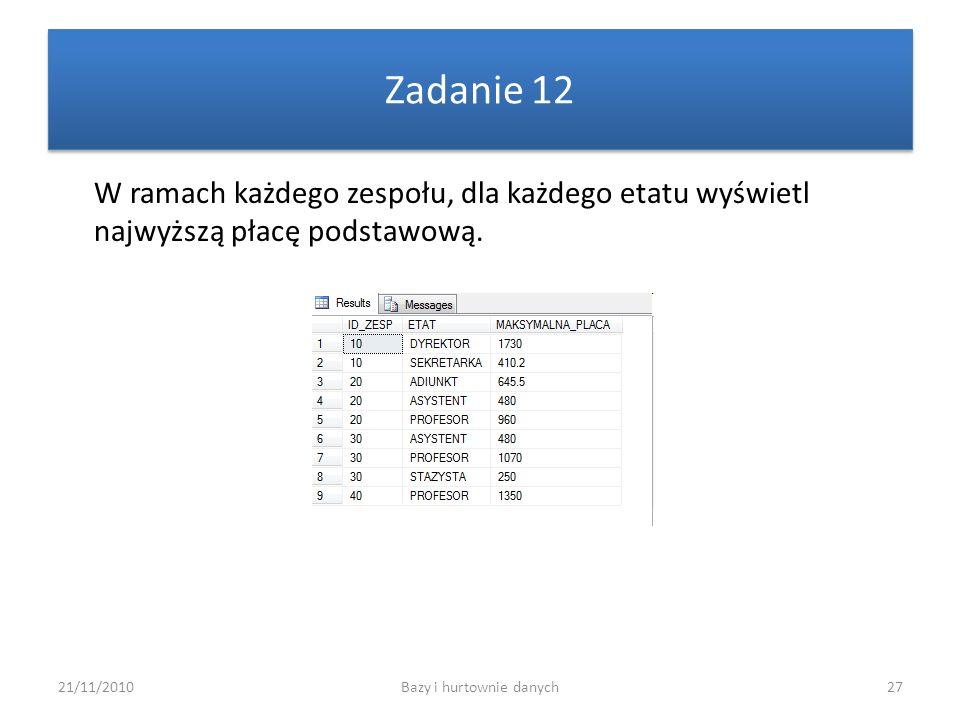 21/11/2010Bazy i hurtownie danych27 Zadanie 12 W ramach każdego zespołu, dla każdego etatu wyświetl najwyższą płacę podstawową.