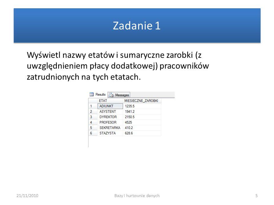21/11/2010Bazy i hurtownie danych5 Zadanie 1 Wyświetl nazwy etatów i sumaryczne zarobki (z uwzględnieniem płacy dodatkowej) pracowników zatrudnionych
