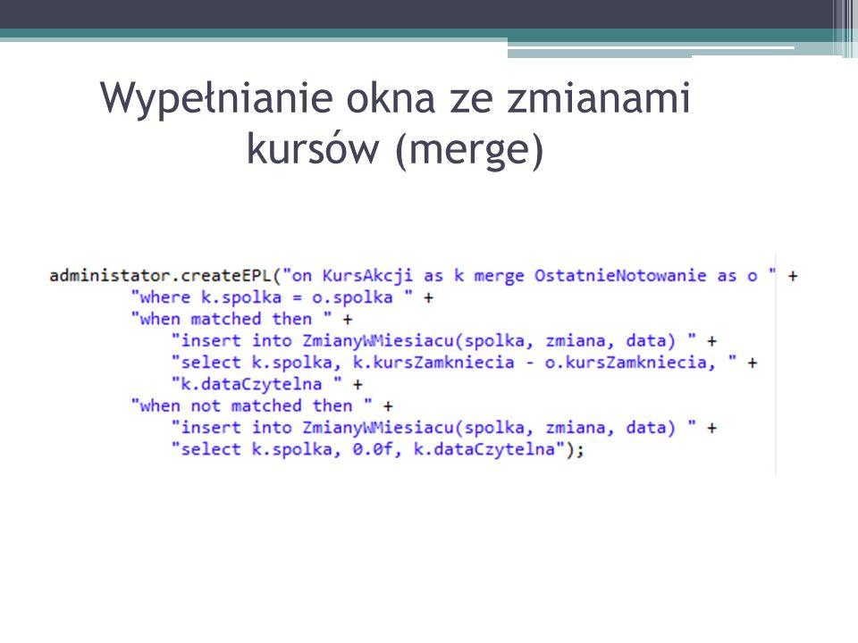 Wypełnianie okna ze zmianami kursów (merge)