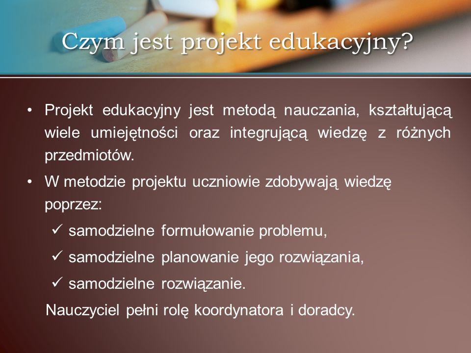 Projekt edukacyjny jest metodą nauczania, kształtującą wiele umiejętności oraz integrującą wiedzę z różnych przedmiotów. W metodzie projektu uczniowie