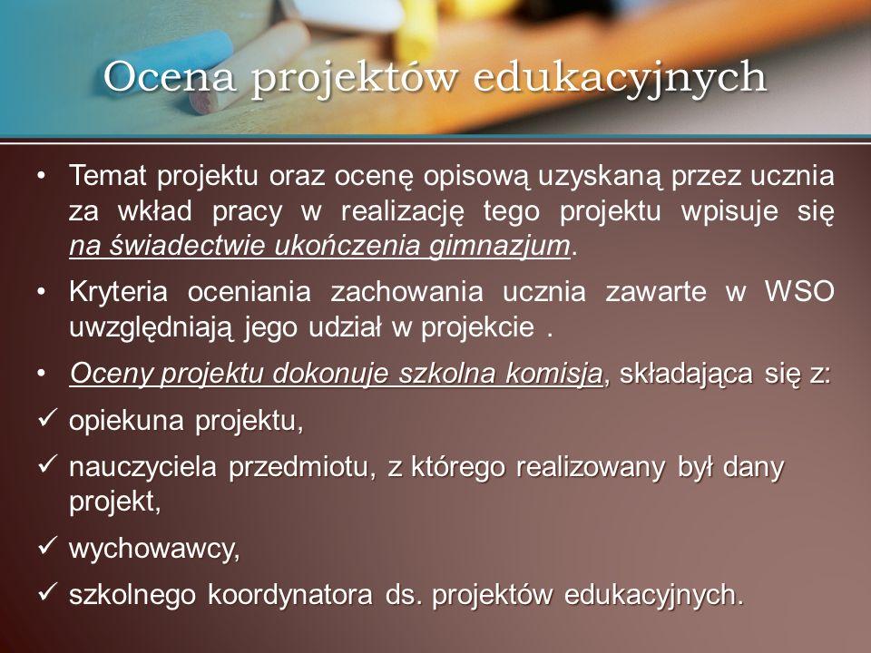Temat projektu oraz ocenę opisową uzyskaną przez ucznia za wkład pracy w realizację tego projektu wpisuje się na świadectwie ukończenia gimnazjum. Kry
