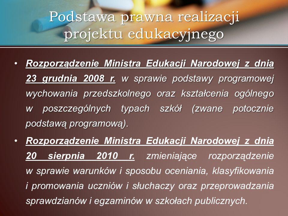 Podstawa prawna realizacji projektu edukacyjnego Rozporządzenie Ministra Edukacji Narodowej z dnia 23 grudnia 2008 r. w sprawie podstawy programowej w
