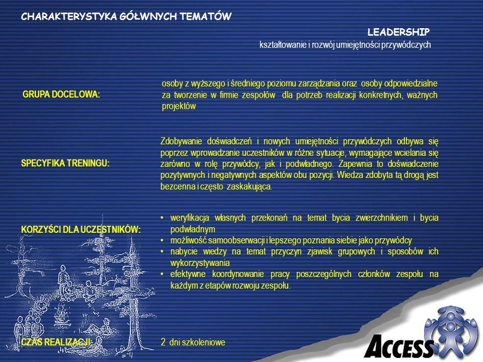 GRUPA DOCELOWA: SPECYFIKA TRENINGU: KORZYŚCI DLA UCZESTNIKÓW: CZAS REALIZACJI: LEADERSHIP kształtowanie i rozwój umiejętności przywódczych osoby z wyższego i średniego poziomu zarządzania oraz osoby odpowiedzialne za tworzenie w firmie zespołów dla potrzeb realizacji konkretnych, ważnych projektów Zdobywanie doświadczeń i nowych umiejętności przywódczych odbywa się poprzez wprowadzanie uczestników w różne sytuacje, wymagające wcielania się zarówno w rolę przywódcy, jak i podwładnego.