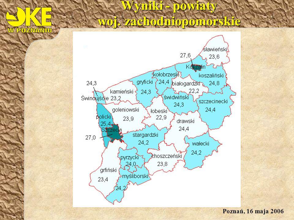 Poznań, 16 maja 2006 Wyniki - powiaty woj. zachodniopomorskie