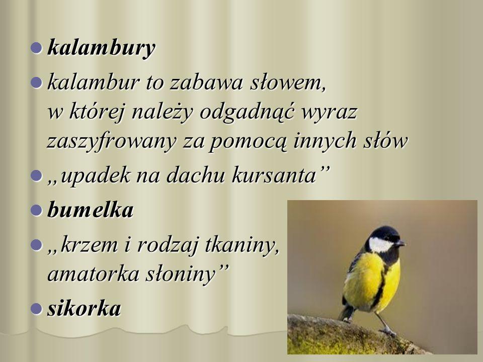 kalambury kalambury kalambur to zabawa słowem, w której należy odgadnąć wyraz zaszyfrowany za pomocą innych słów kalambur to zabawa słowem, w której n