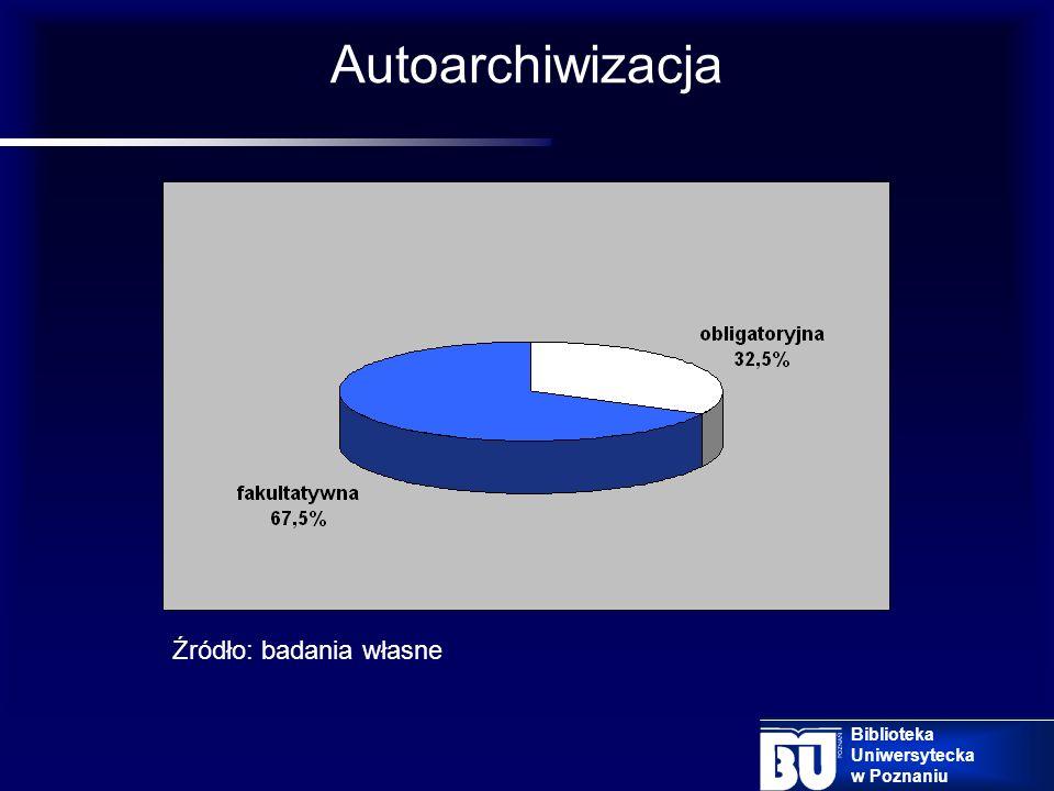 7. Zasady deponowania Autoarchiwizacja jest to deponowanie dokumentów cyfrowych przez samego autora Typy autoarchiwizacji: autoarchiwizacja obligatory
