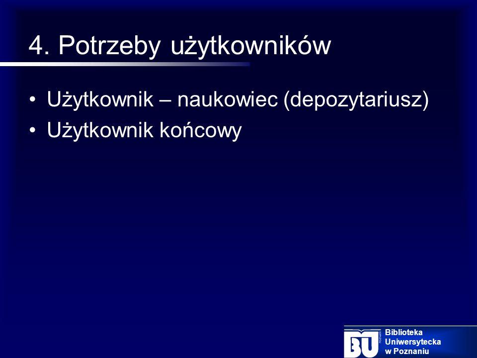 3. Dobór zespołu Moderator Redaktor Administrator Asystenci wydziałowi Biblioteka Uniwersytecka w Poznaniu