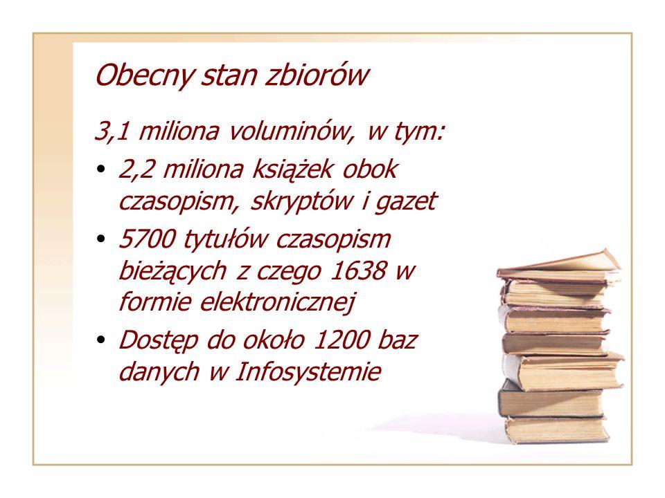 Obecny stan zbiorów 3,1 miliona voluminów, w tym: 2,2 miliona książek obok czasopism, skryptów i gazet 5700 tytułów czasopism bieżących z czego 1638 w formie elektronicznej Dostęp do około 1200 baz danych w Infosystemie