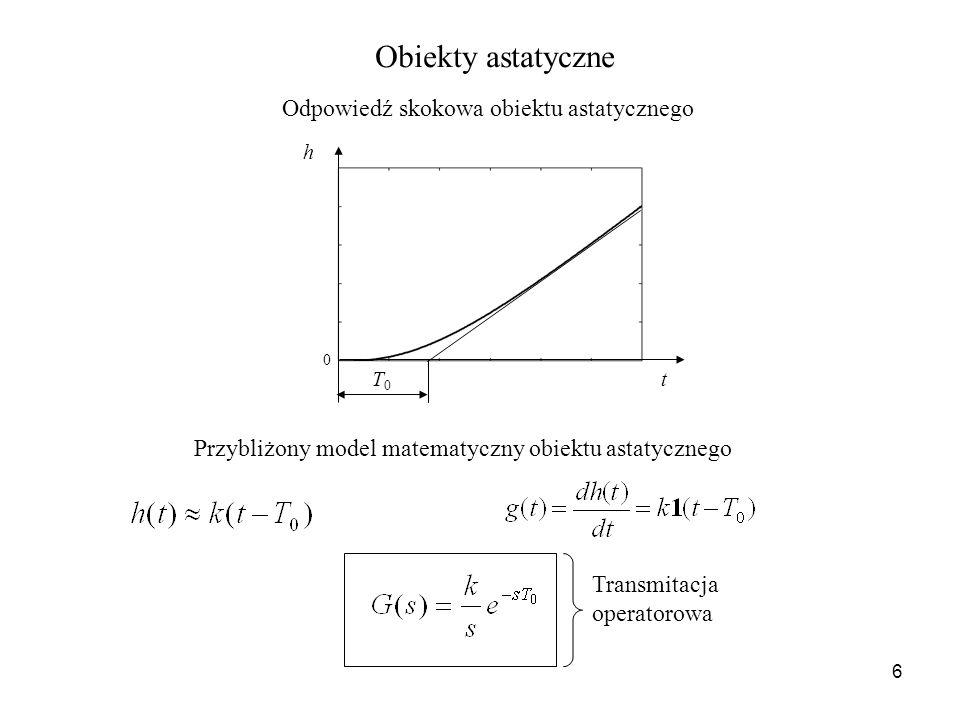 6 Obiekty astatyczne h t 0 T0T0 Odpowiedź skokowa obiektu astatycznego Transmitacja operatorowa Przybliżony model matematyczny obiektu astatycznego