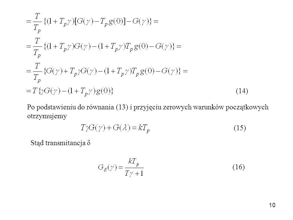10 Po podstawieniu do równania (13) i przyjęciu zerowych warunków początkowych otrzymujemy Stąd transmitancja δ (14) (15) (16)