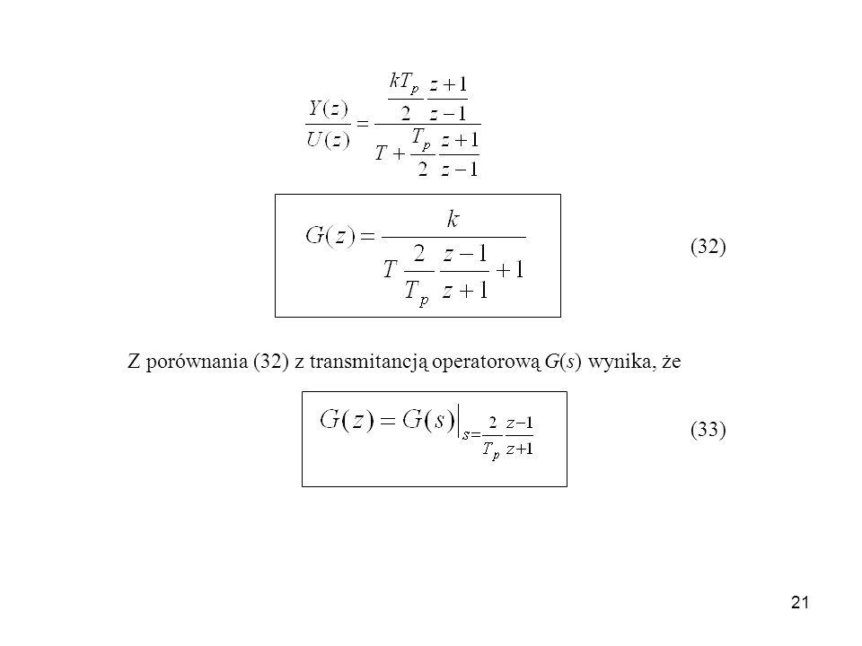 21 Z porównania (32) z transmitancją operatorową G(s) wynika, że (32) (33)