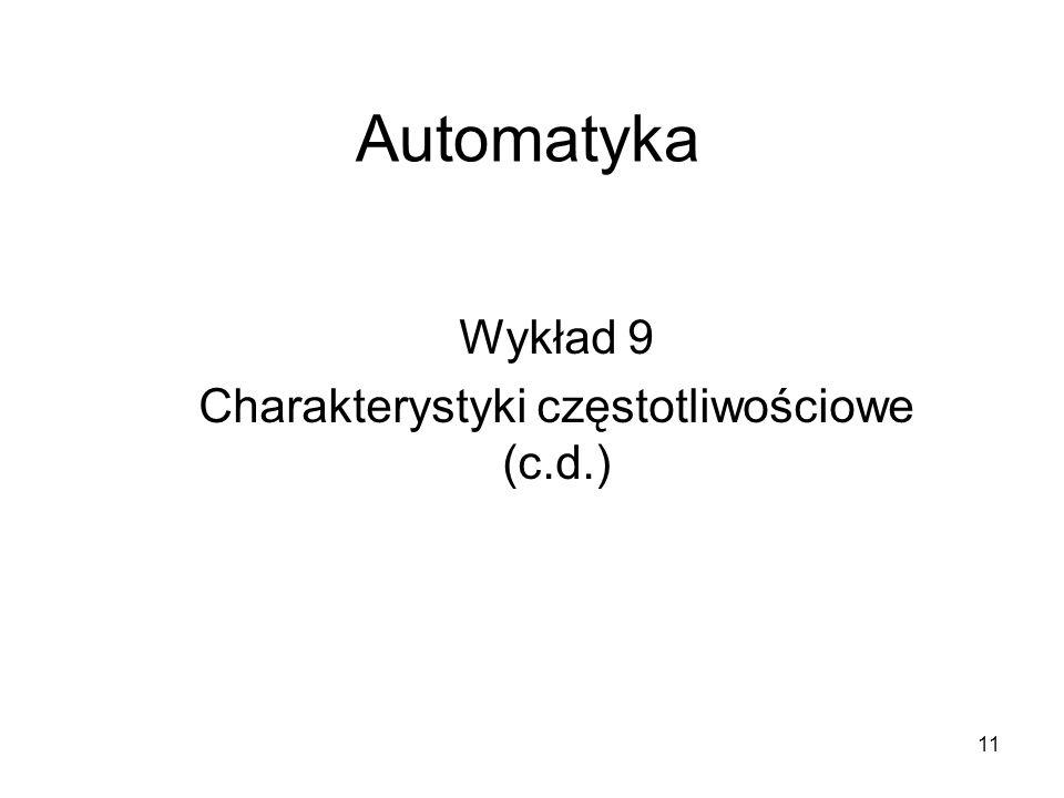 11 Automatyka Wykład 9 Charakterystyki częstotliwościowe (c.d.)