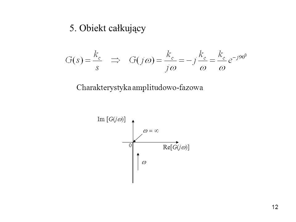 12 5. Obiekt całkujący Charakterystyka amplitudowo-fazowa Re[G(j )] Im [G(j )] 0