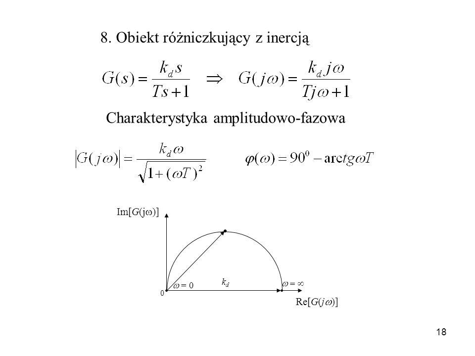 18 8. Obiekt różniczkujący z inercją Charakterystyka amplitudowo-fazowa Im[G(j )] = 0 0 Re[G(j )] kdkd