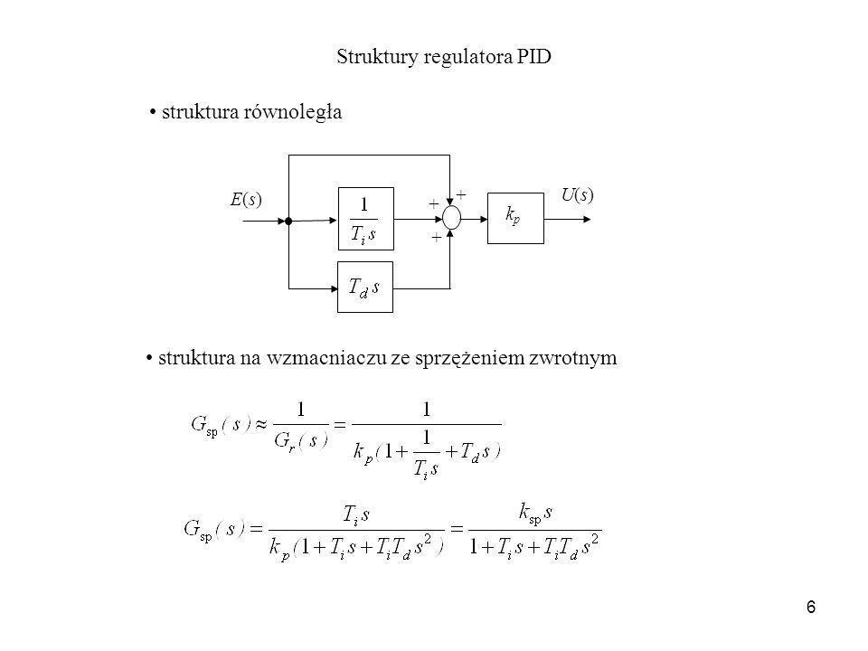 6 + + + kpkp E(s)E(s) U(s)U(s) Struktury regulatora PID struktura równoległa struktura na wzmacniaczu ze sprzężeniem zwrotnym