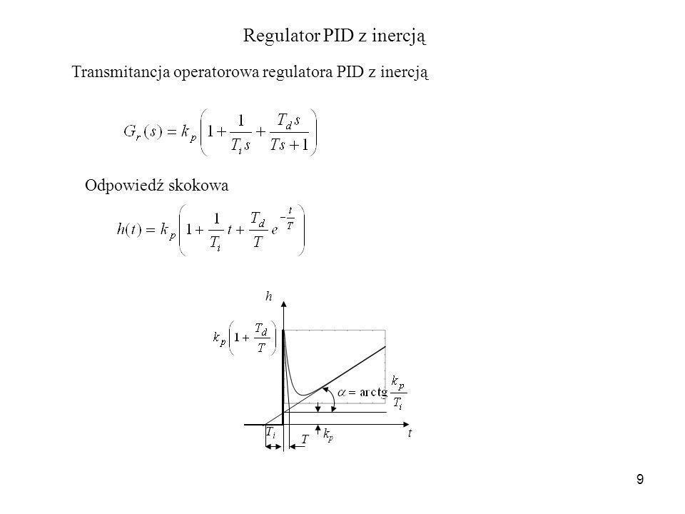 9 Transmitancja operatorowa regulatora PID z inercją Odpowiedź skokowa t h TiTi T kpkp Regulator PID z inercją
