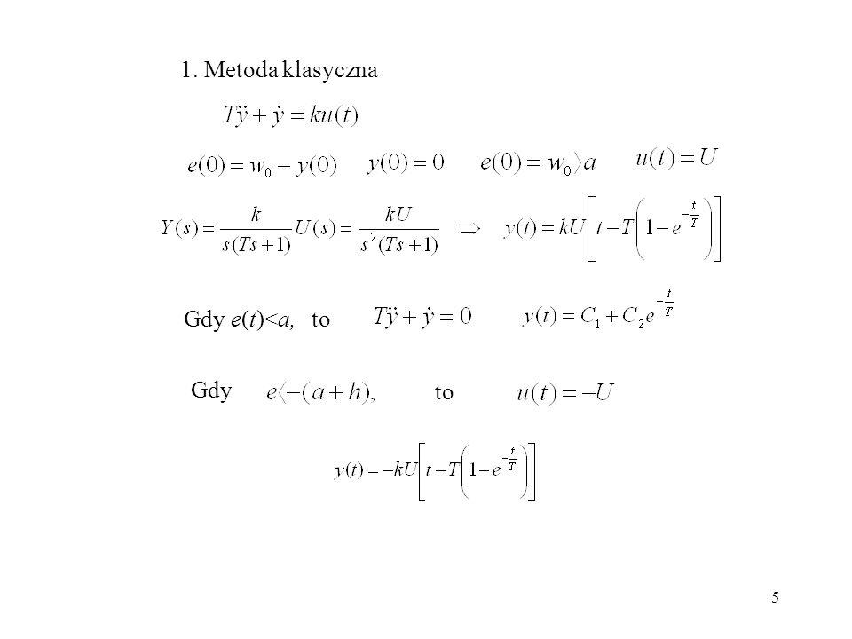 5 1. Metoda klasyczna Gdy e(t)<a, to Gdy to